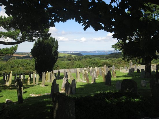 St Keverne, UK: View from graveyard