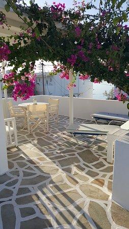 Tarsa Studios & Apartments: Terrace off kitchen