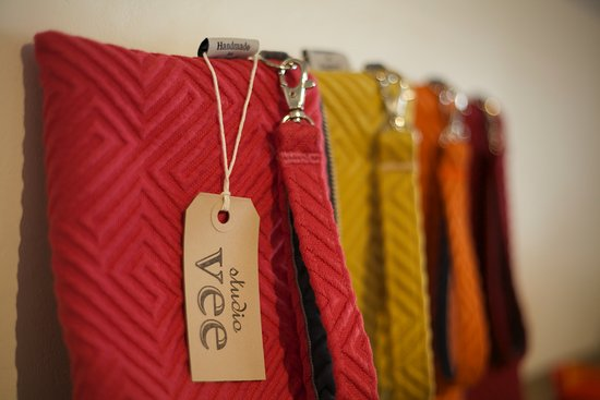 Painswick, UK: Studio Vee colourfully hand-crafted make-up and shoulder bags.