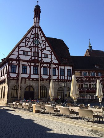 Forchheim, Germany: Foyer of Rathaus was being utilized as outside catering place during the weekend in the summer