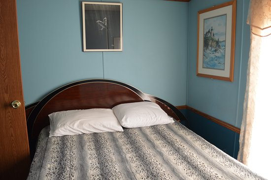 Harbor Resort: The bed was everything you'd need, a bit hard and the blanket looked like leopard seal skin, I w