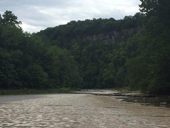 Trumansburg, NY: creek facing towards waterfall