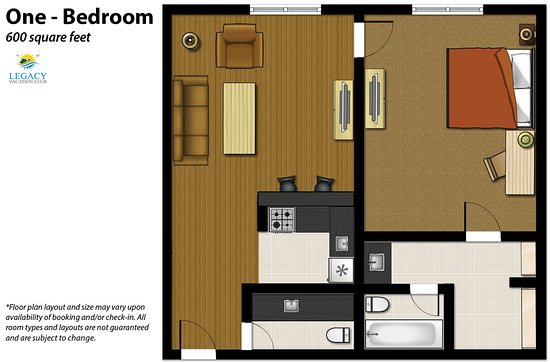 Legacy Vacation Resorts-Steamboat Hilltop: 1 Bedroom Floor Plan