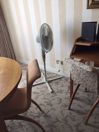 Hotel Meyrick: The fan did little to cool hot and stuffy room on fifth floor.