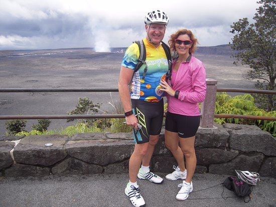 Bike Volcano: Second stop after the top - Looking at Kilauea caldera