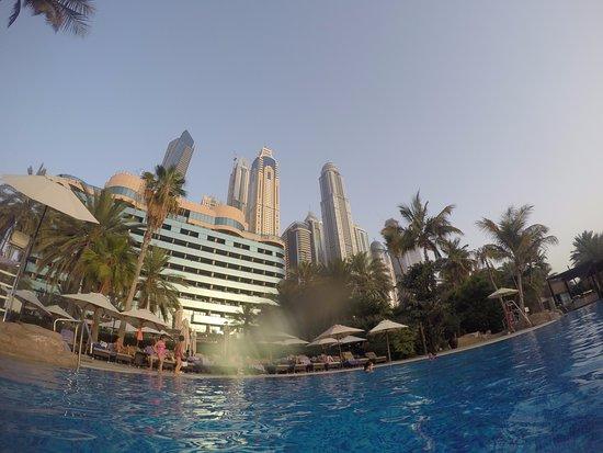 منتجع ومارينا لو ميريديان مينا السياحي بيتش: vista desde la piscina, los edificios de atras corresponden a la Marina de Dubai