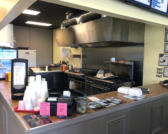 Perinton Hots kitchen/ordering area