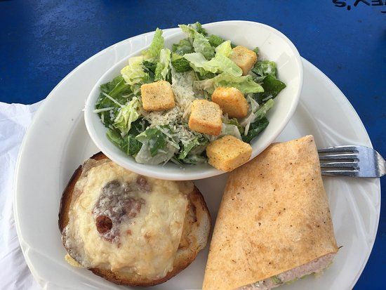 Schaefer's Canal House: Caesar salad, Maryland crab soup and a large barge traversing the C&D Canal