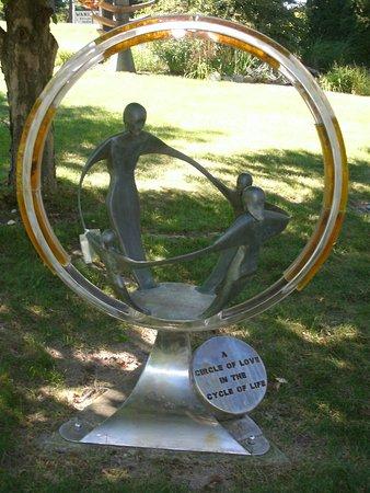 Elk Rapids, MI: A contemporary sculpture in the outdoor gardens.