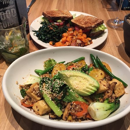 True Food Kitchen Bowls teriyaki quinoa bowl & t.l.t. sandwich - picture of true food
