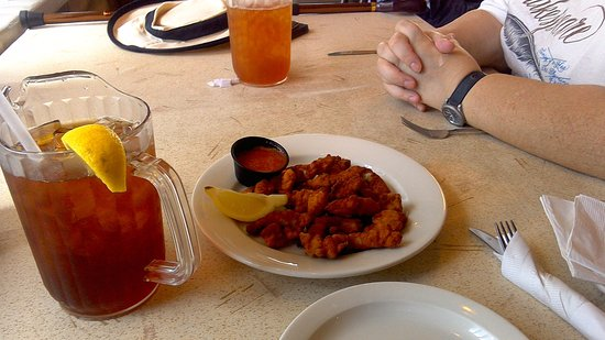 Orchard Beach, MD: Fried clam strips and a pitcher of iced tea