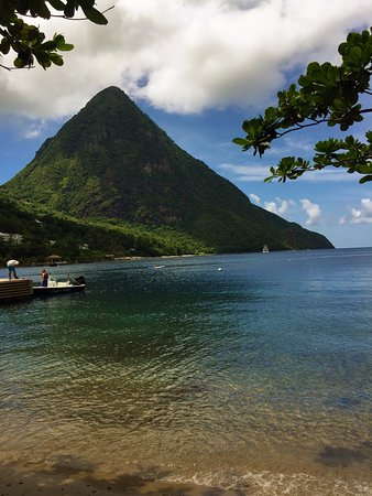 Vieux Fort, St. Lucia: A view of one of the Pitons from the beach