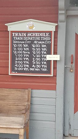 Virginia City, มอนแทนา: Train times. The train will take you to Nevada City. Go to the hotel for an awesome coffee!