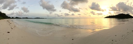 Sunrise on Cote d'Or beach - steps away from our bungalow at Les Villas d'Or.
