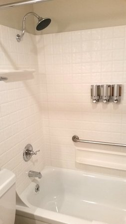 Pelican Shores Inn: The shower is well lit, lots of space to set your items down, and love the dispensers!