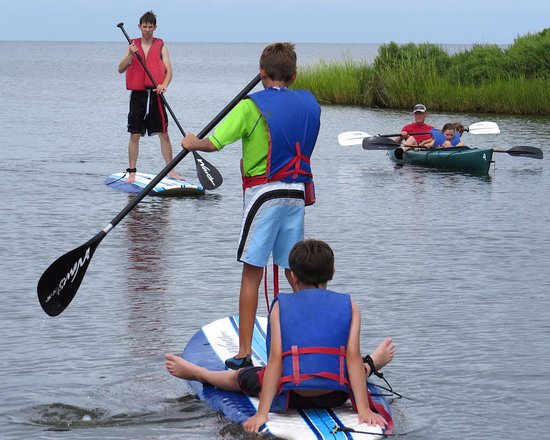 Rodanthe, NC: launching our kayaks and boards a few yards from our rental house