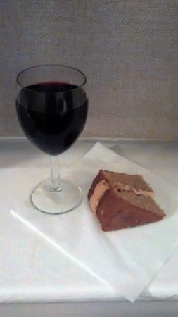 The Relish: Complimentary glass of wine and home-made cake