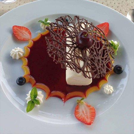 Saint-Seurin-de-Prats, França: Semi-fredo with spun chocolate on a fruit coulis.