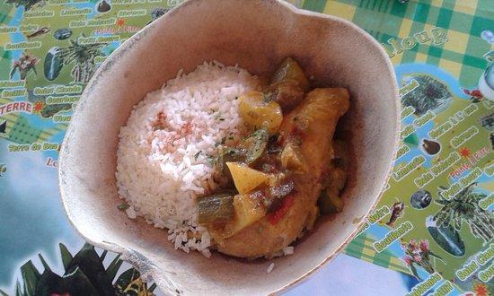Kalinago Carbet : Très bon plat du jour, le Colombo de Poulet !