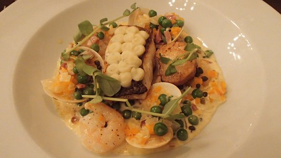Colwall, UK: Fish pie deconstracted with hake, prawns, & clams