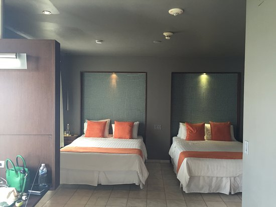 Nassau Suite Hotel: Love the glass tiled headboards with accent lighting