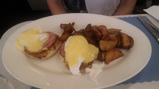 EJ's Luncheonette: Classic egg Benedict + banana pancake and pecan