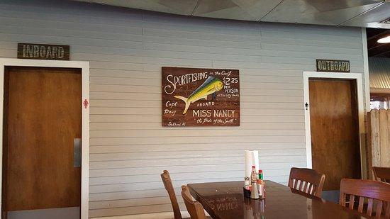 Nancy's Seafood Shack: Bathrooms-Look at door sign