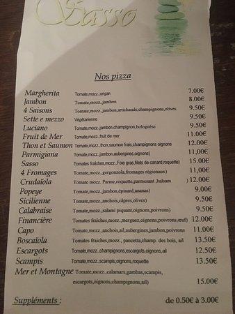 """Grâce-Hollogne, Belgia: Menu du restaurant """"il sasso"""""""