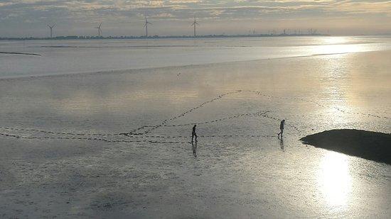 Delfzijl, เนเธอร์แลนด์: Uitzicht vanuit kamer. De zon komt op over zee. Uniek toch in Nederland