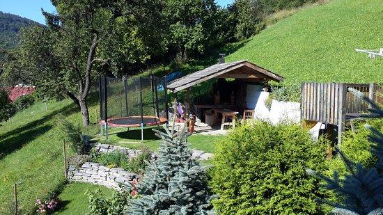 Penzion V Strani: The trampoline and hammock