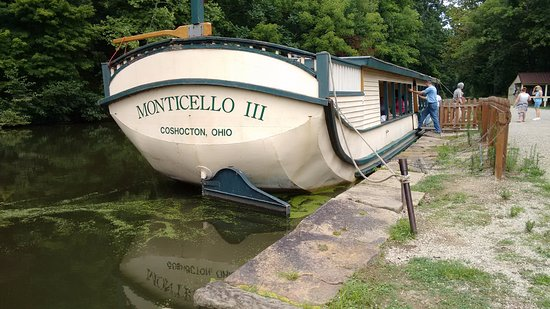 Coshocton, OH: The Monticello III is the real canal boat you will be riding. Pulled by 2 horses.