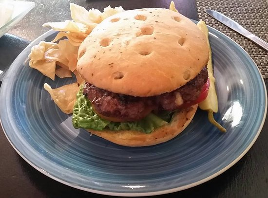 Chesterton, IN: bleu cheese burger on foccia bun with homemade chips . .. dig in!