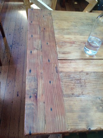 Foreign Cinema: Wood table detail