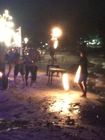 Rayong Province, Thailand: fire attraction at night