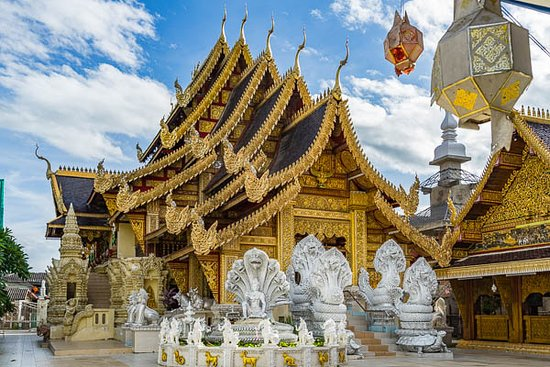 Lamphun, Thailand: View of the front of the second temple