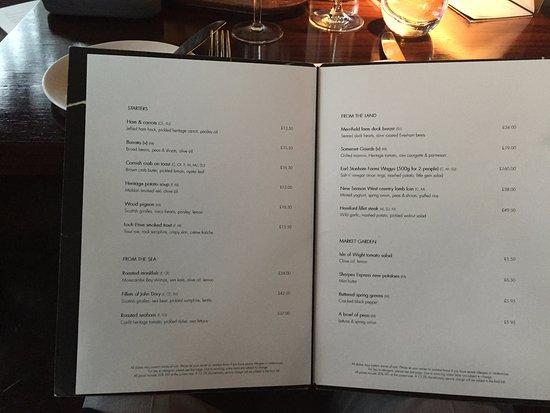 Aqua Dining Restaurant Menu