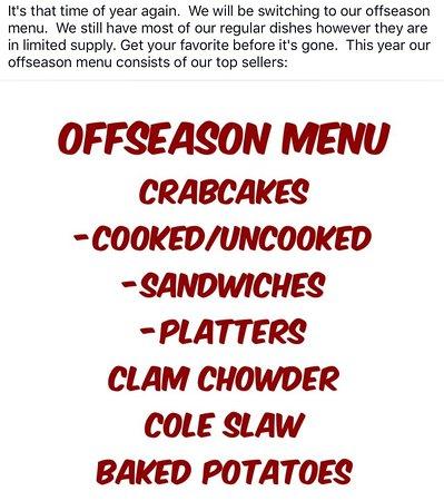 Stone Harbor, NJ: Offseason menu