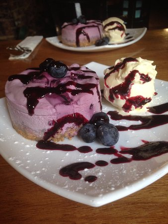 Nether Stowey, UK: Worth the trip just for this gorgeous blueberry cheesecake with clotted cream!