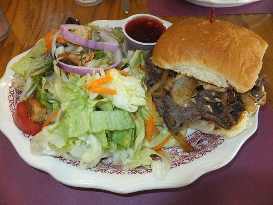 Worland, WY: Shaved Steak and Onions Sandwich with side salad