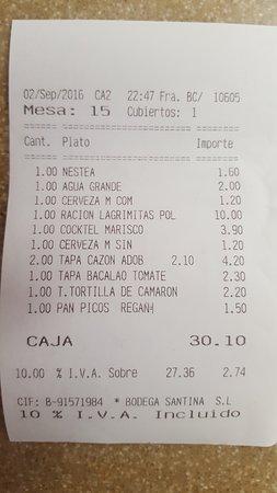 Camas, Hiszpania: Ticket de la cena. Precios muy asequibles.