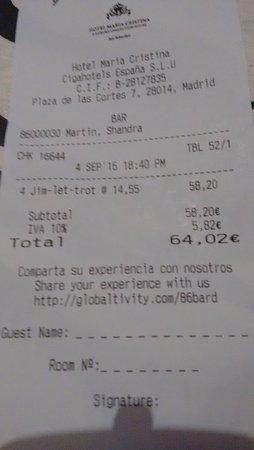 Hotel Maria Cristina, a Luxury Collection Hotel, San Sebastian: precio que pagamos
