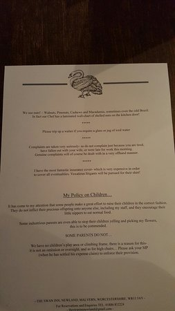 The Swan Inn: If you go for the fish, you'd better be hungry! Menu was excellent, the beef was superb and the