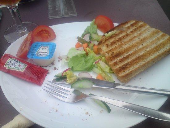 Zedelgem, Belgium: Croque, half eaten.