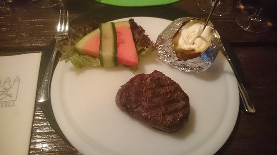Castell Bites & Steaks : Tenderloin steak with jacked potato, and three different sauces (not shown in picture).