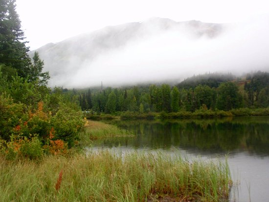 Moose Pass, AK: Morning mist on Summit Lake.