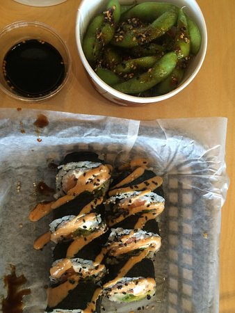 Fusian: Spicy edamame, miso soup, and a brown rice roll with salmon
