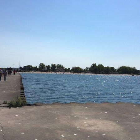 Sodus Point Beach Park - water along piers