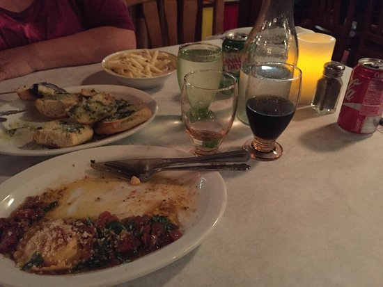 Lo Grasso's Cafe Bistro: what remained of our food before we left, two of the six raviolis on my plate left