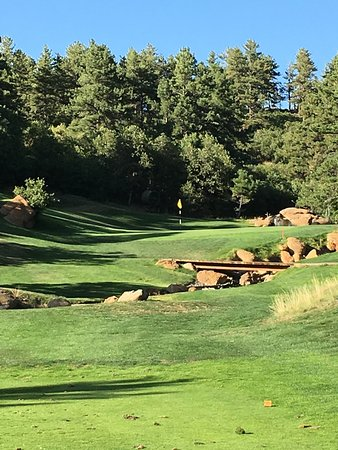 Larkspur, CO: #17, short and beautiful par 3, lots of water