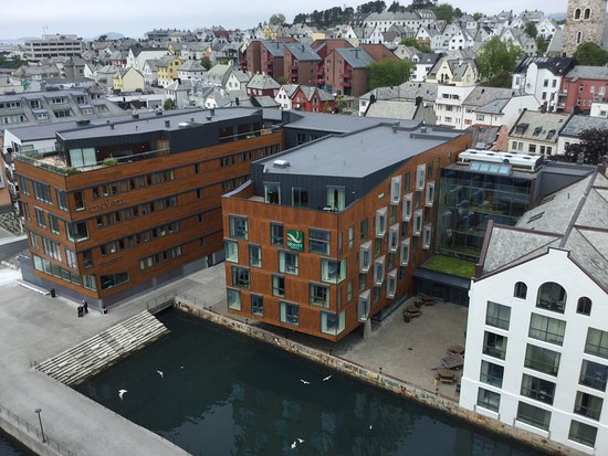 Quality Hotel Waterfront Alesund: View of the hotel from the top deck of Serenade of the Seas.